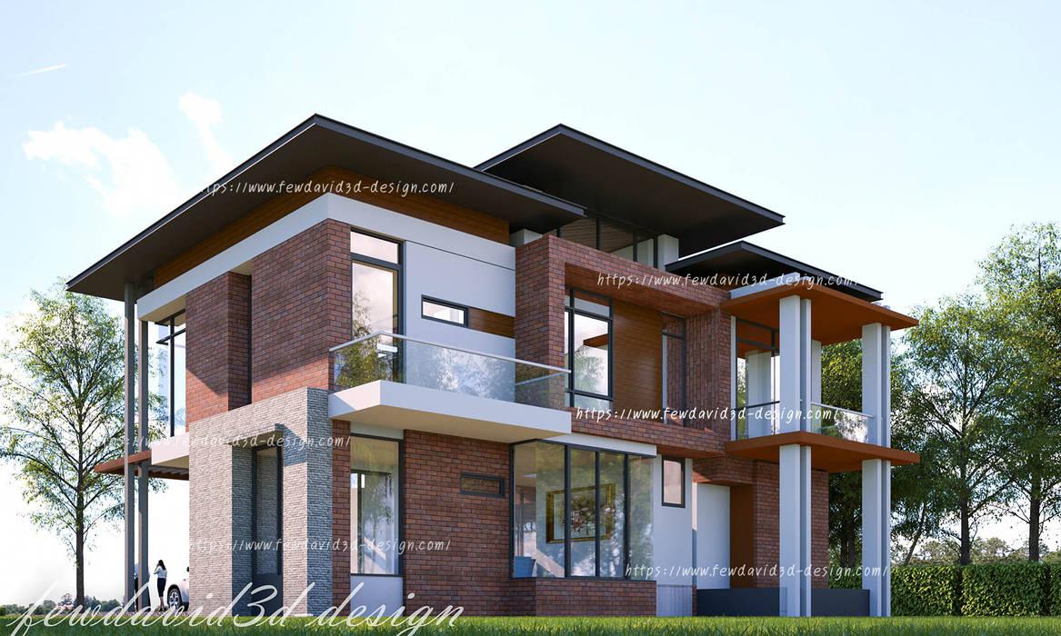 บ้านพักอาศัย 2ชั้น คุณ วีรยุทธฯ อ.แก่งกระจาน จ.เพชรบุรี:  กำแพง by fewdavid3d-design
