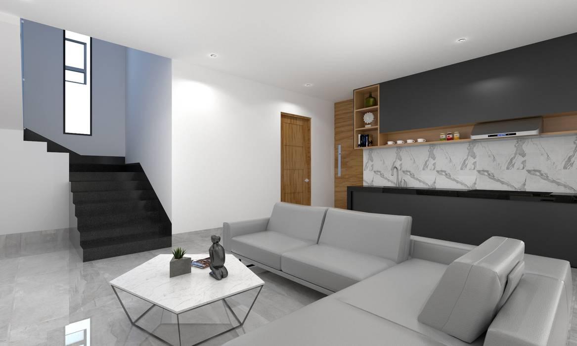 Estancia salas multimedia de estilo por sezione homify for Casa minimalista veracruz