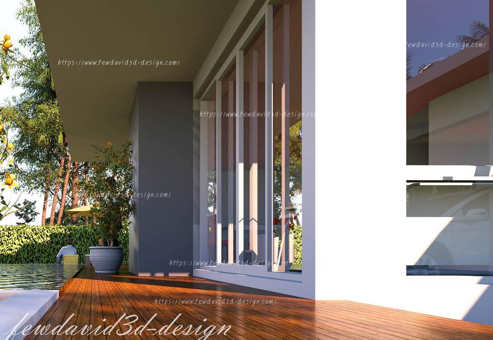 บ้านพักอาศัย 2ชั้น อ.หัวหิน จ.ประจวบคีรีขันธ์:  ระเบียงและโถงทางเดิน โดย fewdavid3d-design, โมเดิร์น