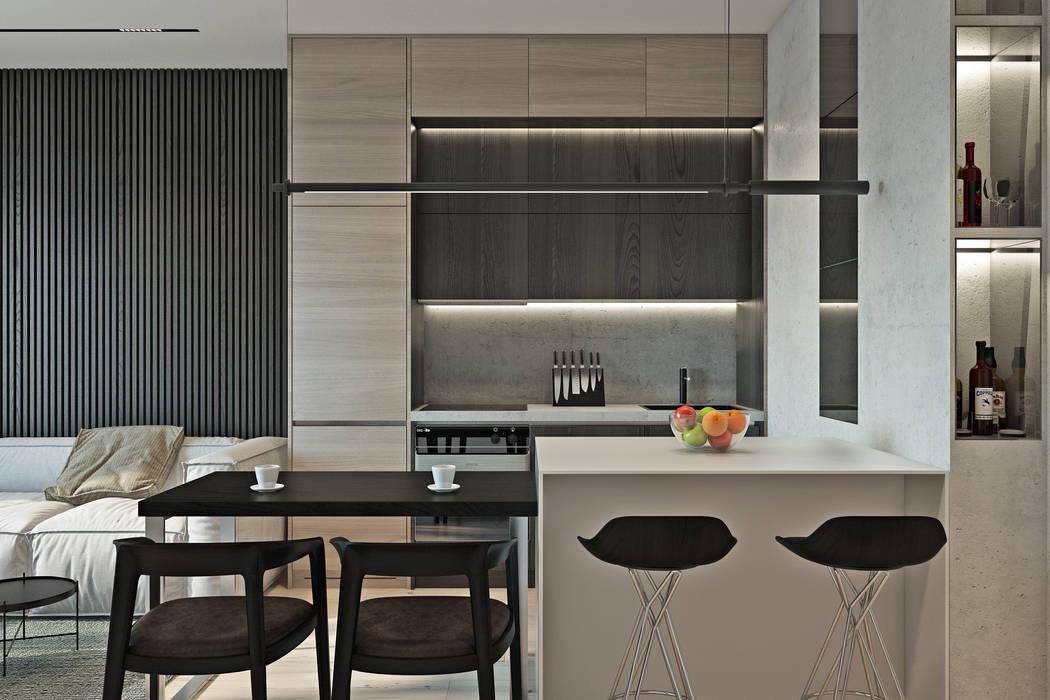 River Stone Кухня в стиле минимализм от U-Style design studio Минимализм