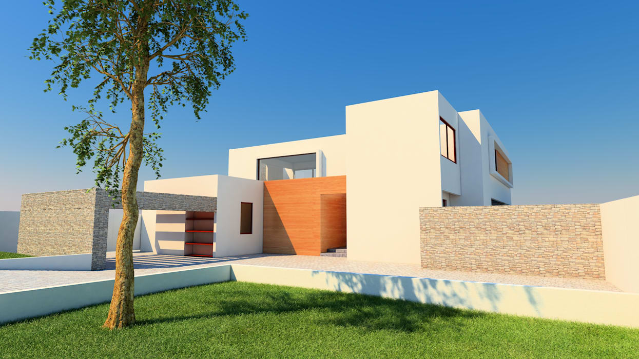Render Proyecto casa BL piedra roja - Chicureo. de MJO ArqDesign Moderno Ladrillos