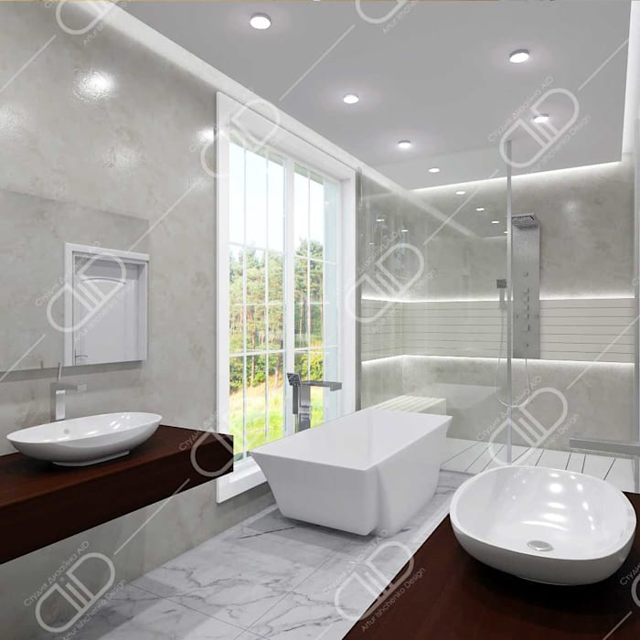 Traditional interior:  Bathroom by Design Studio AiD,Classic