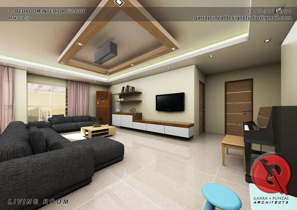 3-Bedroom Interior Design:  Living room by Garra + Punzal Architects, Asian