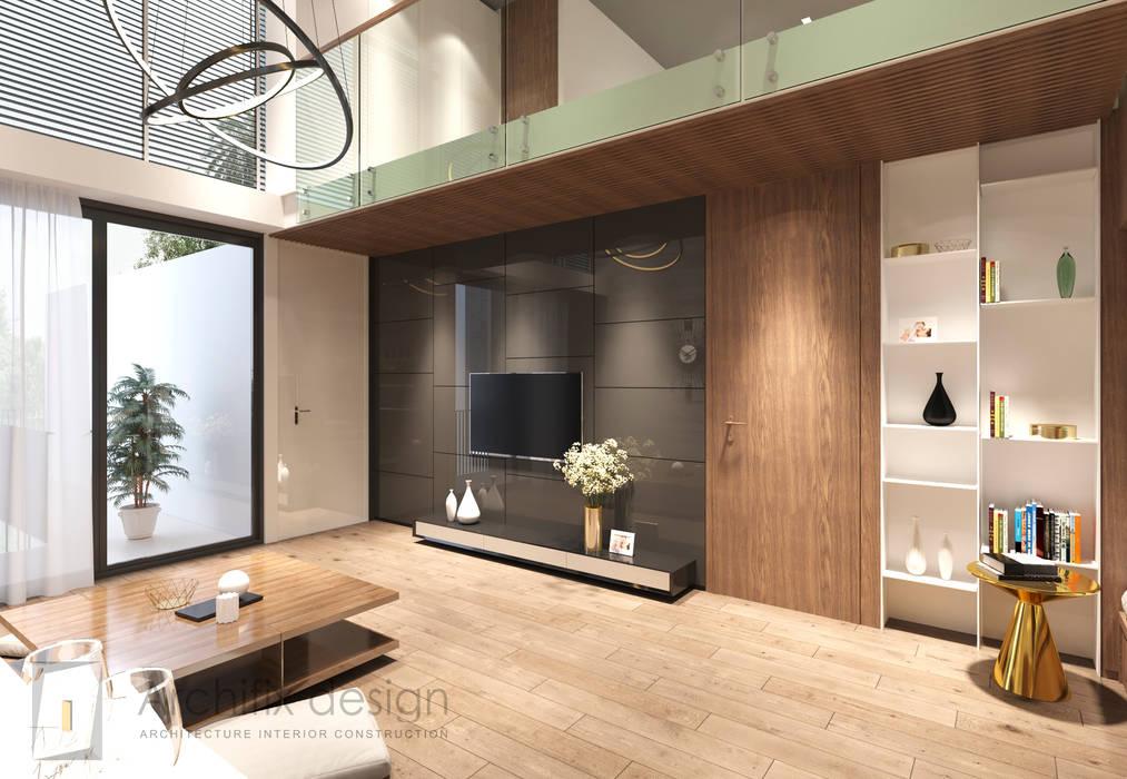 Cải tạo căn hộ Duplex -Lam Sơn - Tân Bình:  Phòng khách by Công Ty TNHH Archifix Design,
