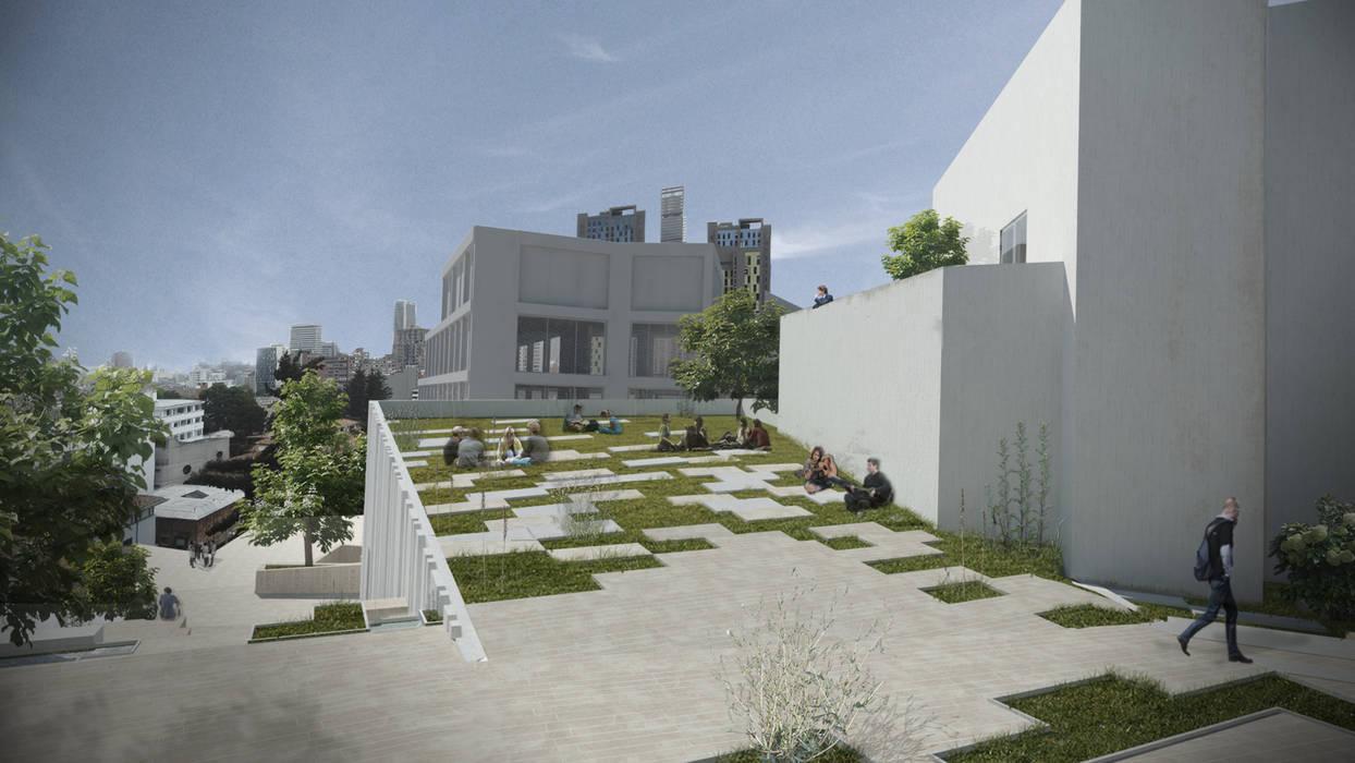 Plaza en cubierta verde: Jardines de invierno de estilo  por Bustos + Quintero arquitectos, Moderno Concreto