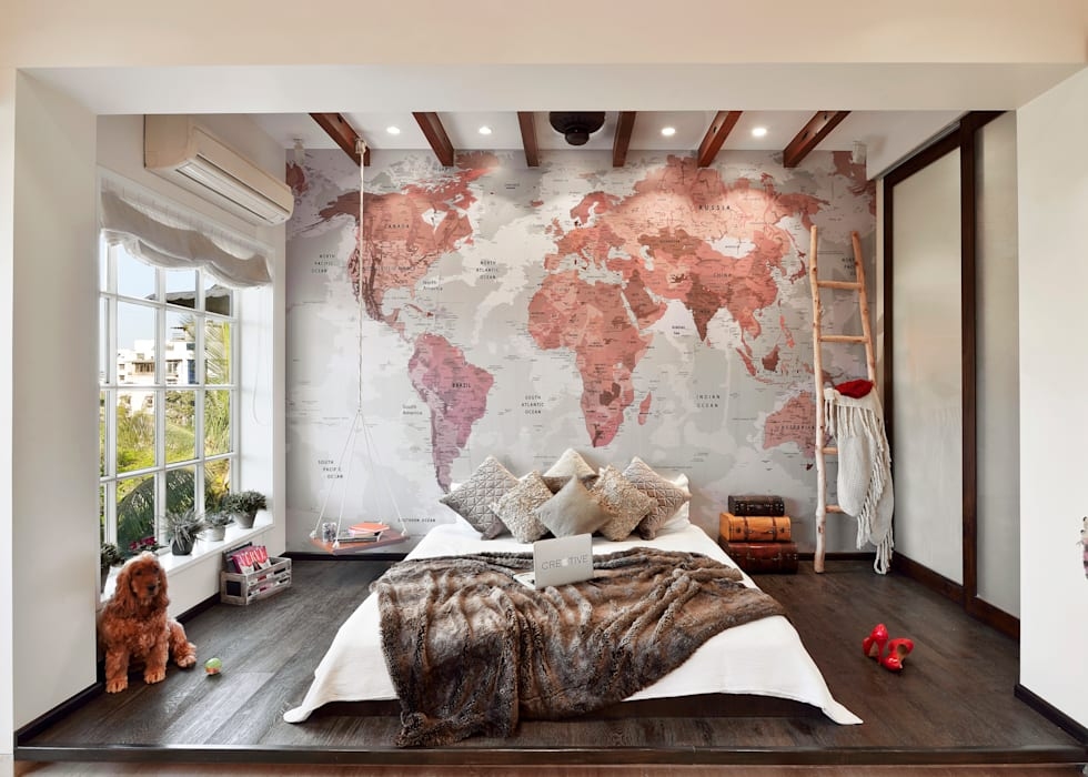 The bed:  Bedroom by SAGA Design