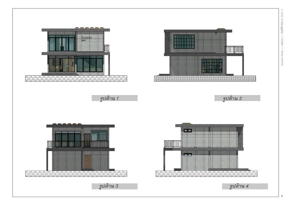 บ้านพักอาศัย 2 ชั้น:  บ้านเดี่ยว โดย แบบบ้านออกแบบบ้านเชียงใหม่, โมเดิร์น