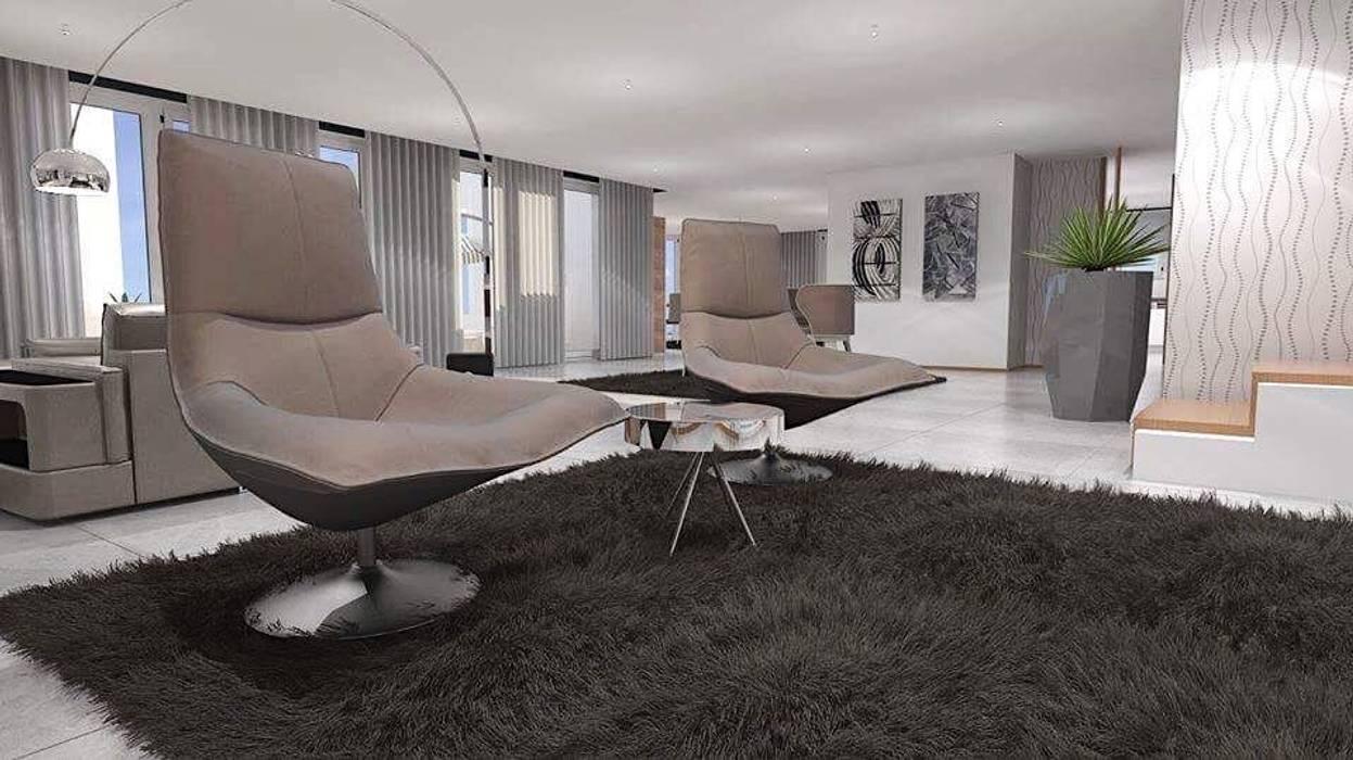 Área de descanso : Salas de estar  por Maria José Faria Interiores Ldª