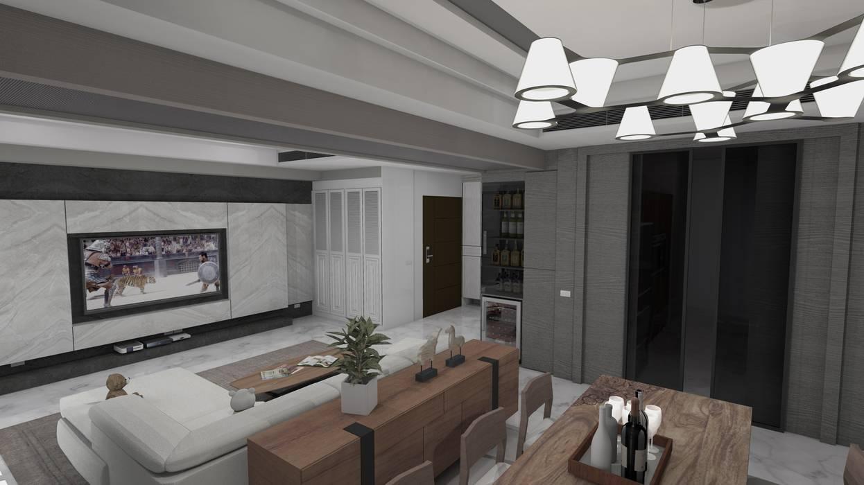 電視牆、衣物櫃、餐櫃、酒櫃及客廳空間示意圖 根據 homify