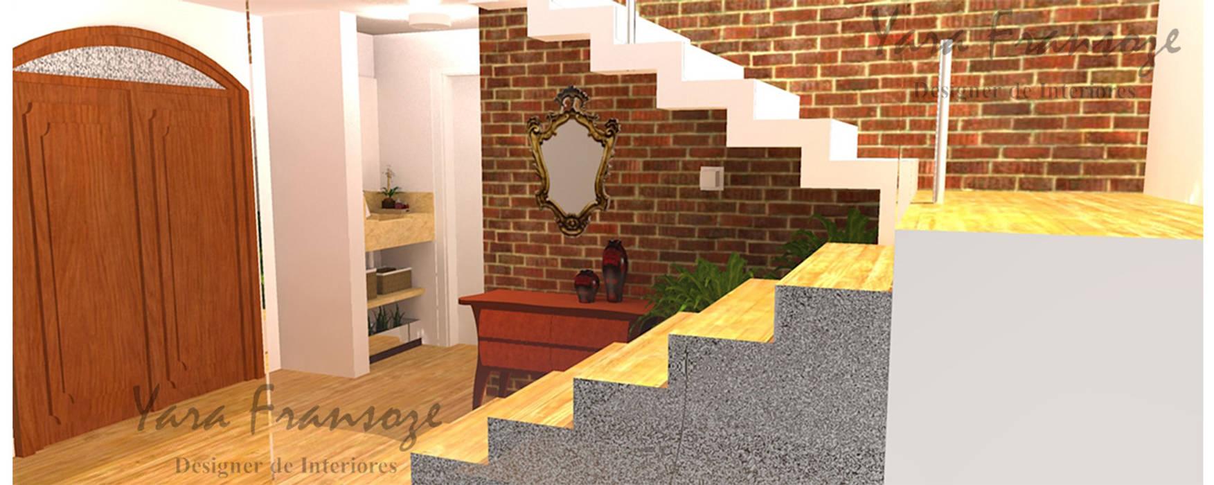 Hall da adega: Corredor, vestíbulo e escadas  por Yara Interiores