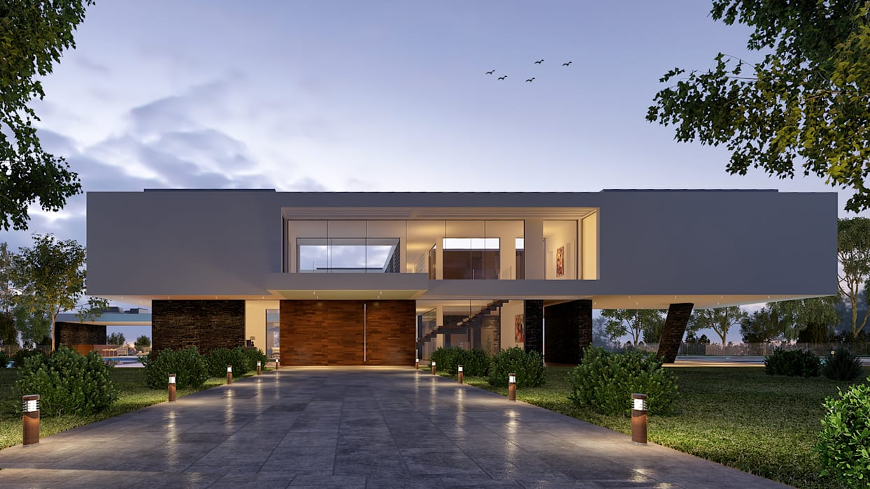 CASA MS1 - Moradia no Belas Clube de Campo - Projeto de Arquitetura - entrada: Moradias  por Traçado Regulador. Lda,Moderno Pedra