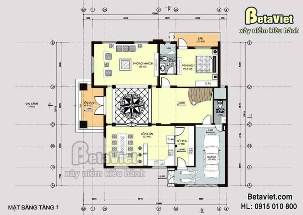 Mặt bằng tầng 1 mẫu thiết kế biệt thự đẹp 3 tầng Tân cổ điển BT14513 bởi Công Ty CP Kiến Trúc và Xây Dựng Betaviet