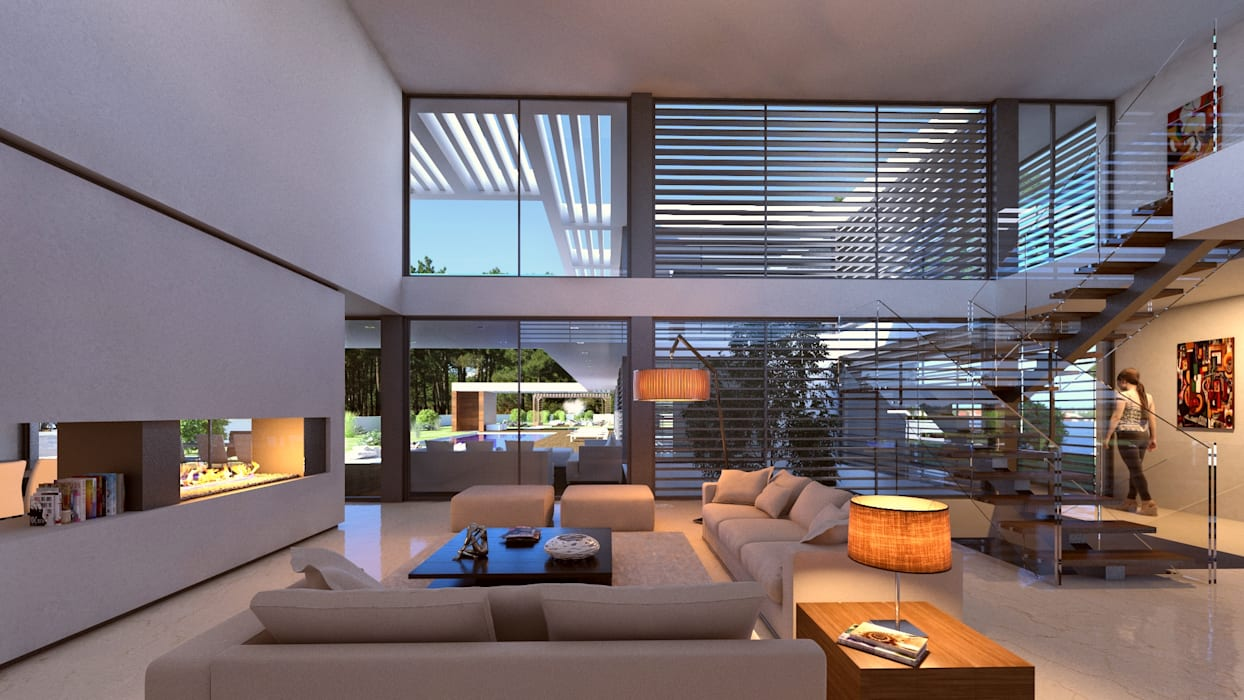 CASA SG1 - Moradia na Herdade da Aroeira - Projeto de Arquitetura - sala Salas de estar modernas por Traçado Regulador. Lda Moderno Pedra