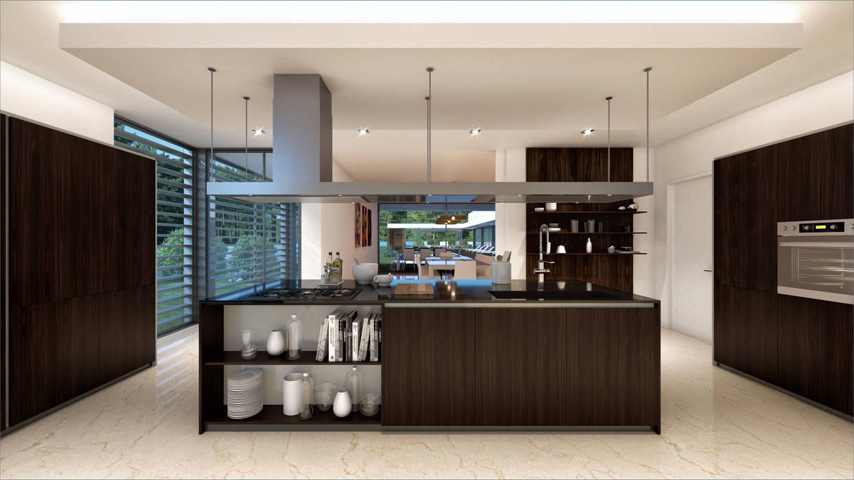 CASA SG1 - Moradia na Herdade da Aroeira - Projeto de Arquitetura - cozinha Cozinhas modernas por Traçado Regulador. Lda Moderno Madeira Acabamento em madeira