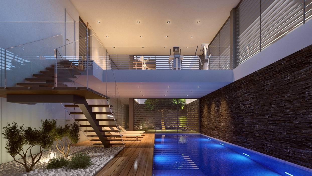CASA SG1 - Moradia na Herdade da Aroeira - Projeto de Arquitetura - piscina interior Piscinas modernas por Traçado Regulador. Lda Moderno