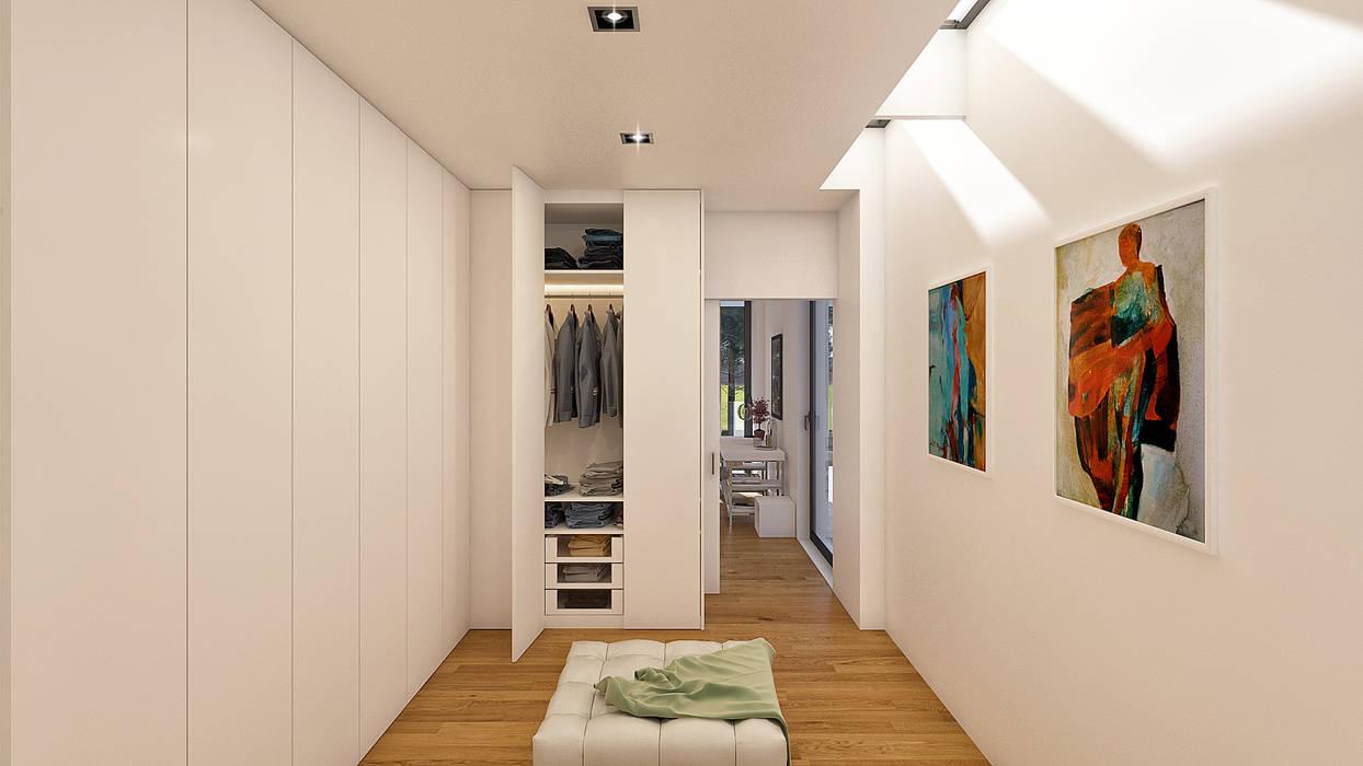 CASA PF1 - Moradia na Herdade da Aroeira - Projeto de Arquitetura - closet Closets modernos por Traçado Regulador. Lda Moderno Madeira Acabamento em madeira