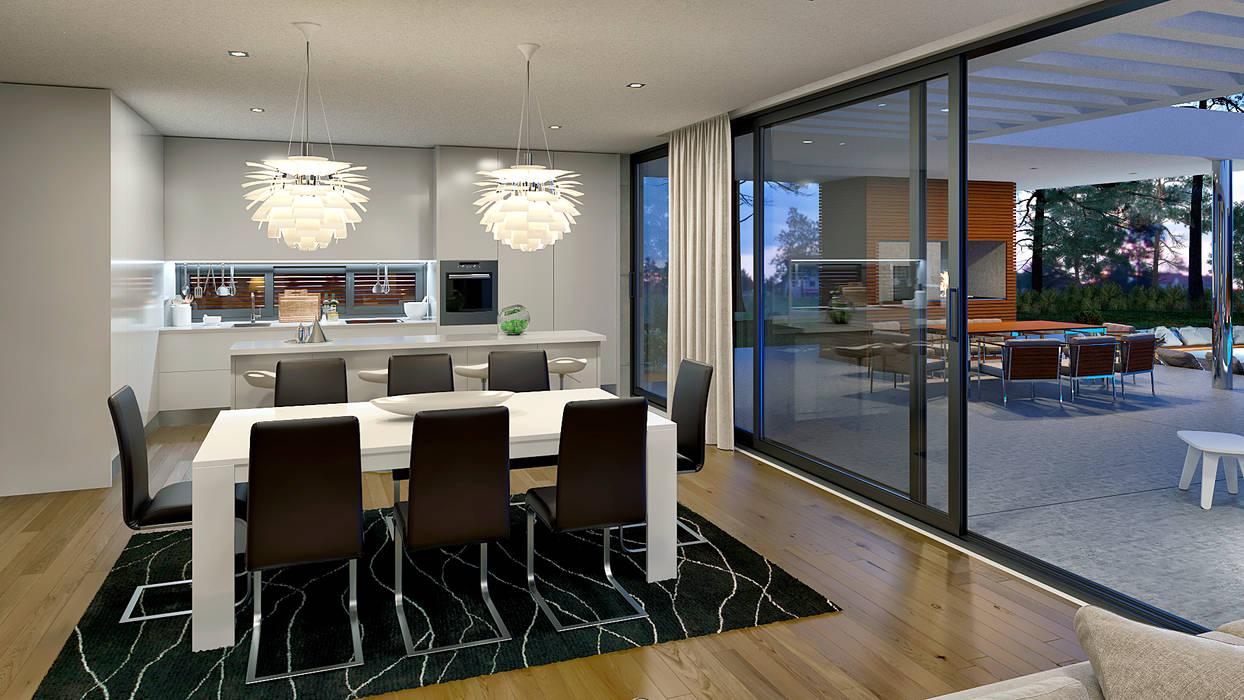 CASA MP1 - Moradia na Herdade da Aroeira - Projeto de Arquitetura - sala cozinha Salas de jantar modernas por Traçado Regulador. Lda Moderno Madeira Acabamento em madeira