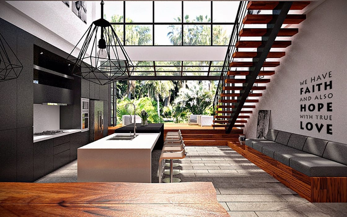 Ruang Makan, Dapur, & Taman : Dapur oleh Lighthouse Architect Indonesia, Modern