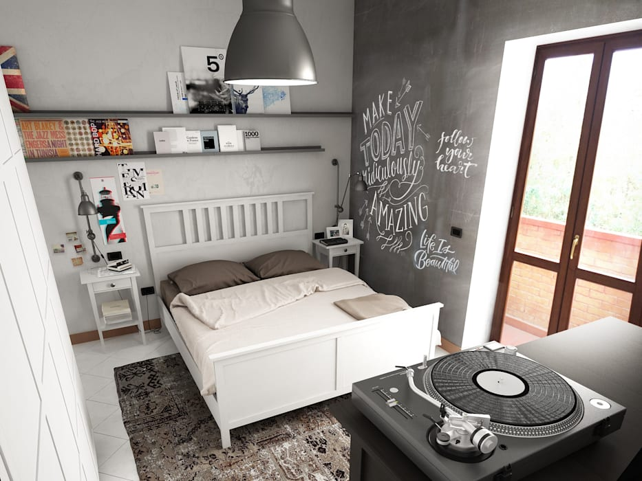 casa F: Camera da letto in stile in stile Industriale di Studio Gentile