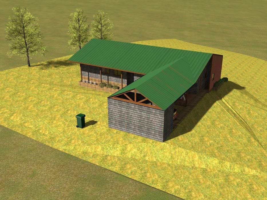 Fachada: Casas unifamiliares de estilo  por casa rural - Arquitectos en Coyhaique,