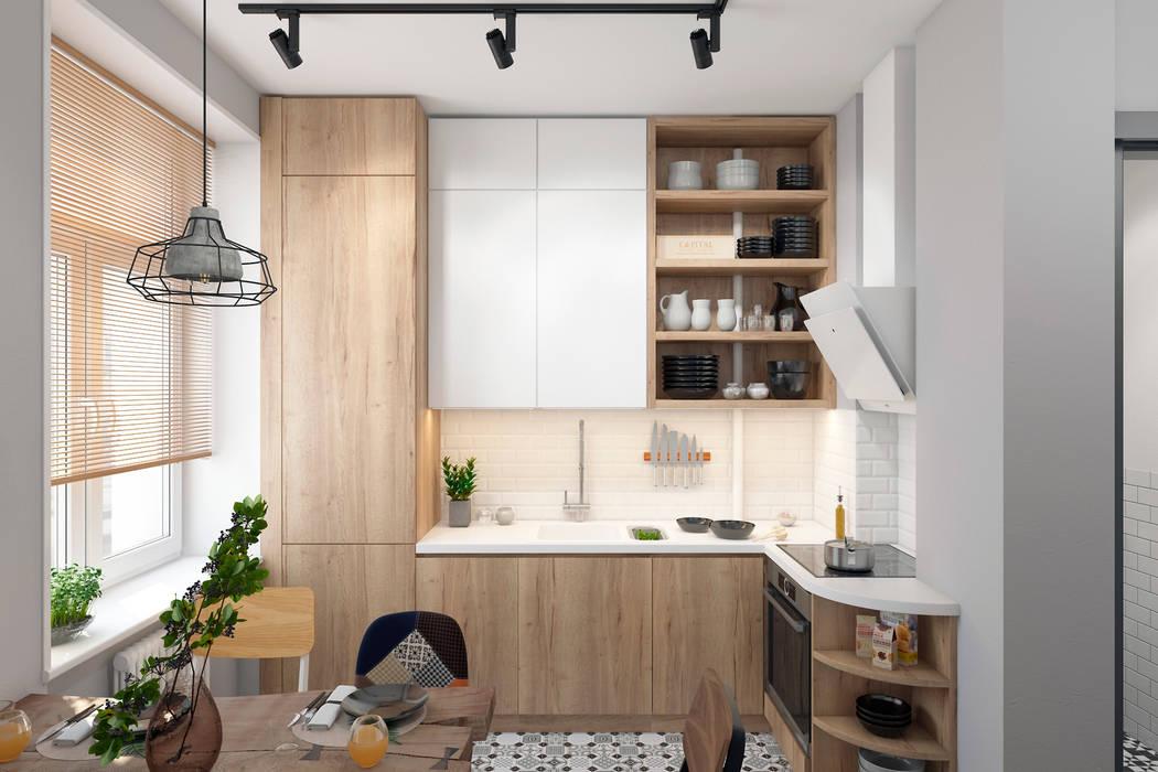Квартира 55 кв.м. в старом доме на Кожуховской в скандинавском стиле: Кухни в . Автор – Студия архитектуры и дизайна Дарьи Ельниковой