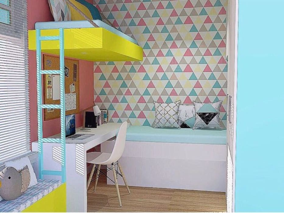 Kassia Rosa Designer de Interiores Stanza dei bambiniArmadi & Cassettiere MDF Variopinto