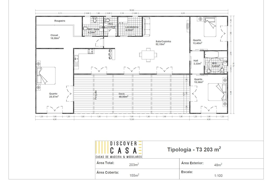 Planta | T3 203m² por Discovercasa | Casas de Madeira & Modulares Moderno Madeira Acabamento em madeira
