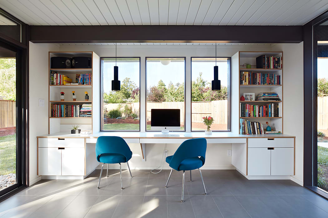 Mid-Mod Eichler Addition Remodel by Klopf Architecture:  Study/office by Klopf Architecture,
