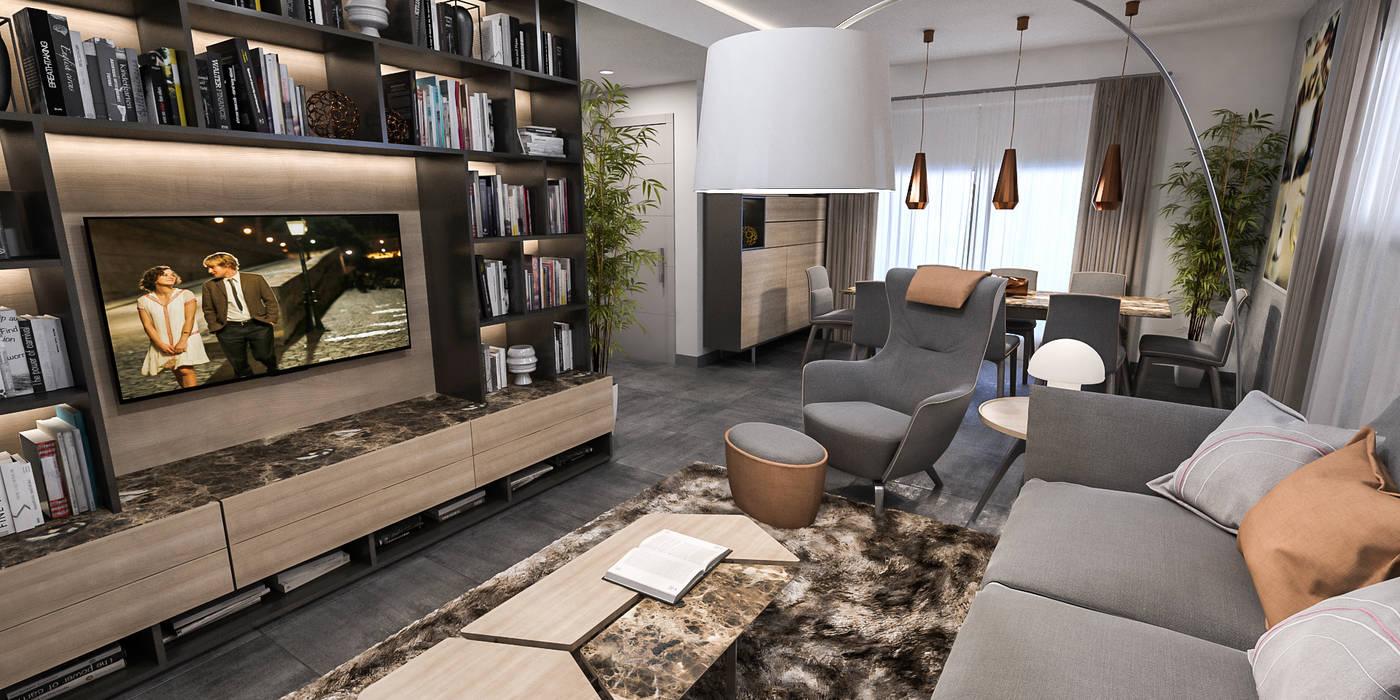 vista living open: Soggiorno in stile in stile Moderno di studiosagitair