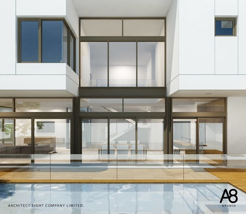 EN-COURT HOUSE : บ้าน 2 ชั้น ซอยประชาอุทิศ:   โดย A8 Design Studio,