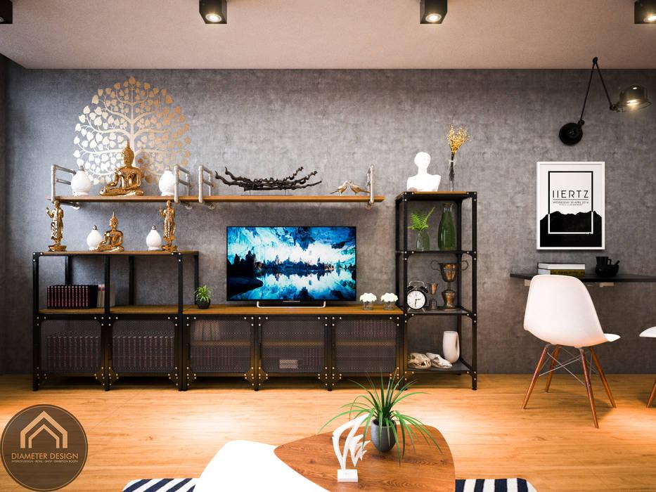 รีโนเวท  JW Condo:  ห้องนั่งเล่น โดย Diameter Design , ผสมผสาน คอนกรีต