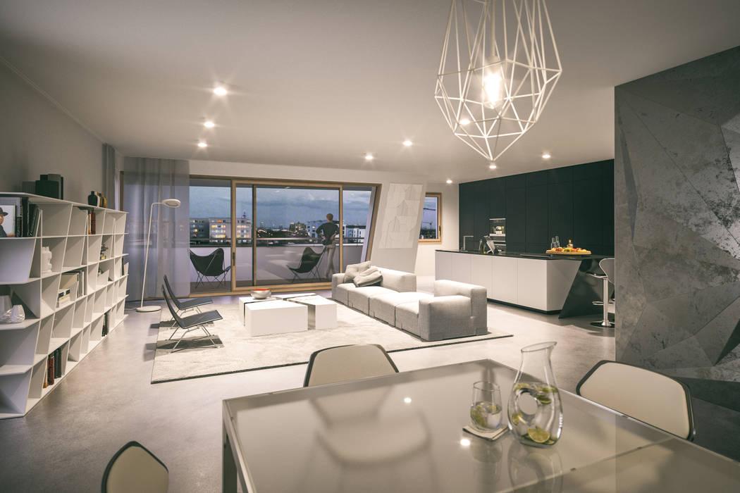Verve - Architektur von Daniel Libeskind:  Wohnzimmer von JLL Residential Development