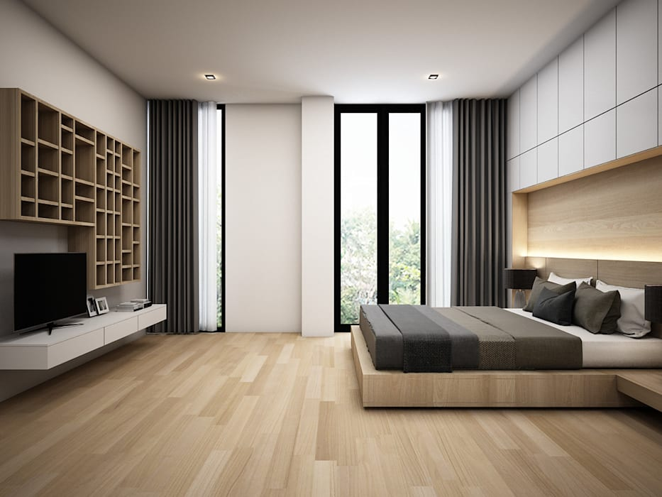 :  ห้องนอน โดย Zero field design studio, โมเดิร์น
