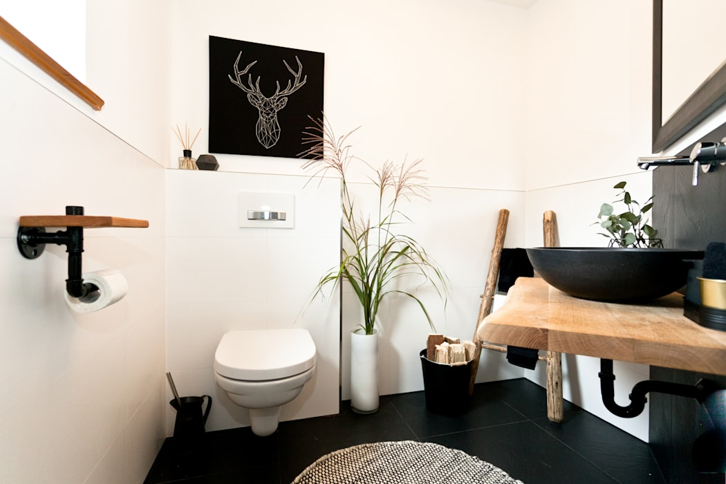 modern trifft rustikal in diesem edlen g ste wc. Black Bedroom Furniture Sets. Home Design Ideas