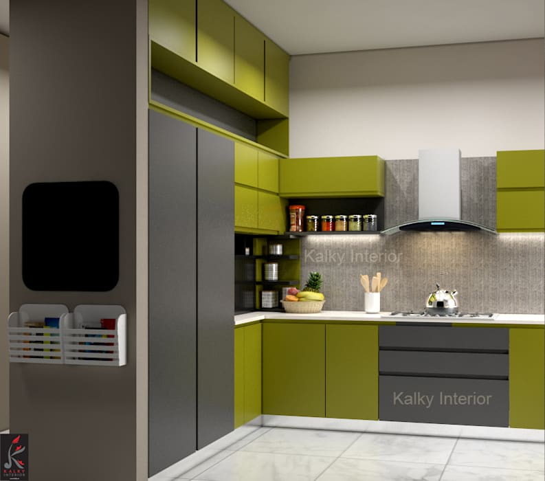 Modern Apartment interior, Jaypee Greens Kalypso Court Sector-128 Noida:  Built-in kitchens by kalky interior