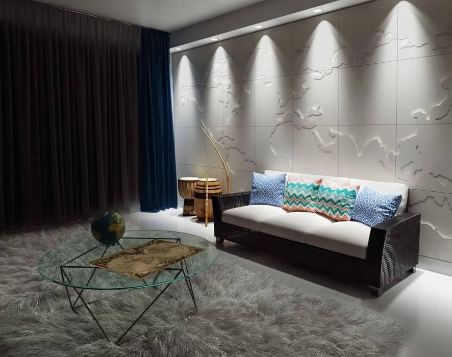 3d Wandverkleidung Map Of The World Wohnzimmer Von Loft Design