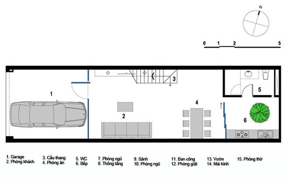 Mẫu Thiết Kế Nhà Ống 3 Tầng Mặt Tiền 5m Hướng Tây Chắn Nắng bởi Công ty TNHH Xây Dựng TM – DV Song Phát Hiện đại