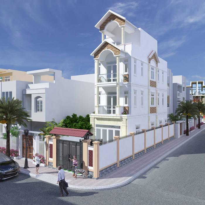 Mặt tiền nhà ống 3,5 tầng kiểu mái thái:  Nhà gia đình by Công ty TNHH Xây Dựng TM – DV Song Phát