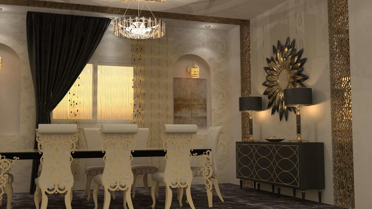 ذهبي :  غرفة السفرة تنفيذ Batool, كلاسيكي