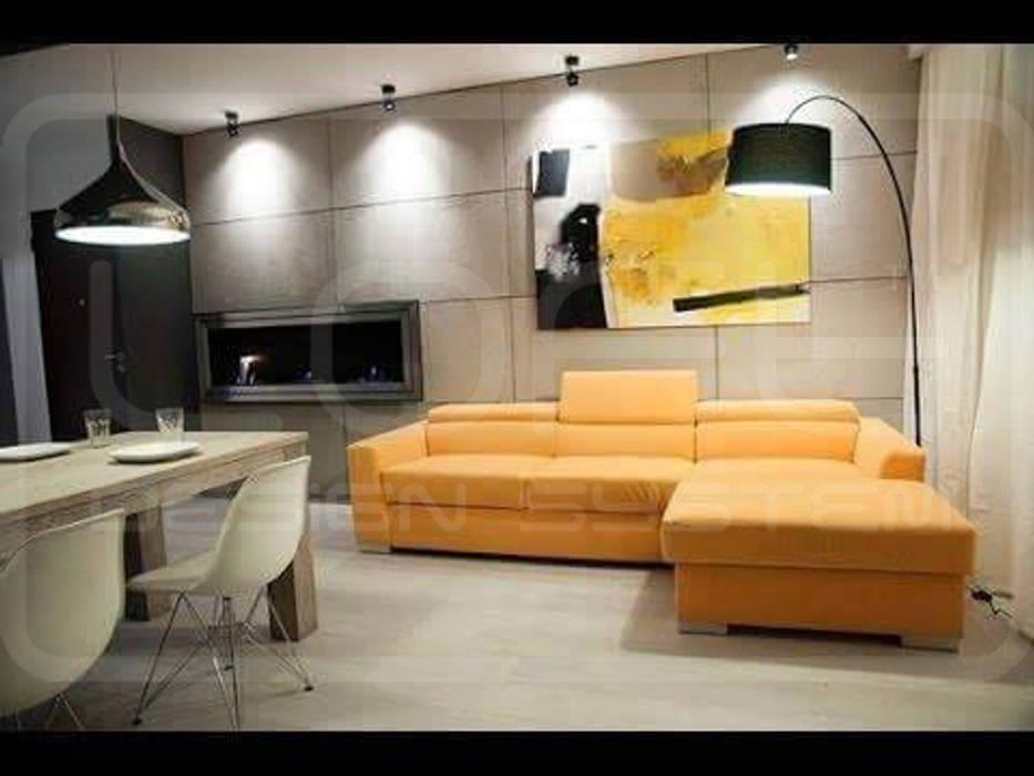 Kamin Wandverkleidung Im Angesagten Beton Look Wohnzimmer Von Loft