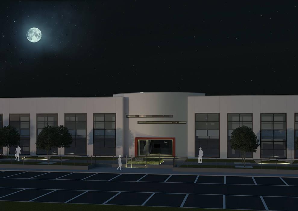 Omas | Nuovo Stabilimento_esterno notturno: Complessi per uffici in stile  di Alberto Codognotto | Kodocreation