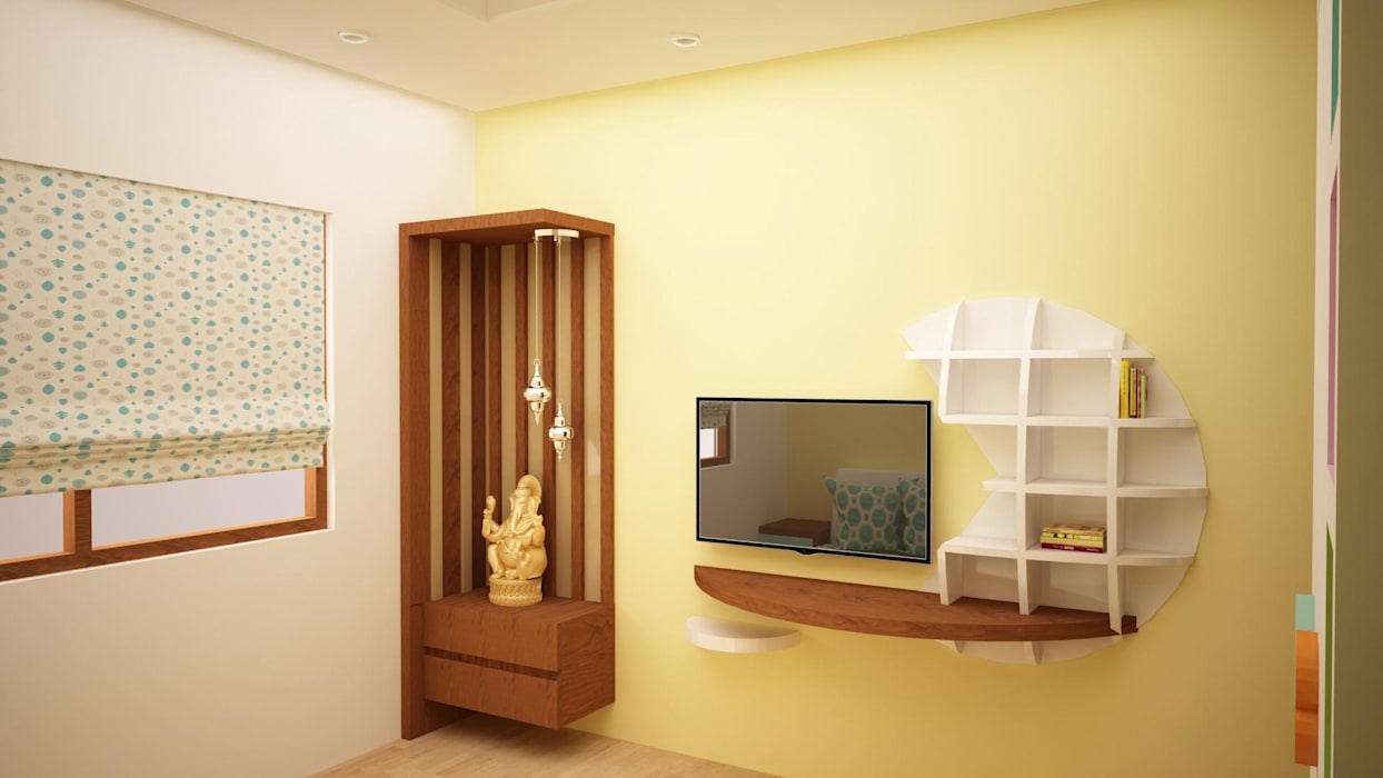 Puja and TV unit area homify Asian style walls & floors
