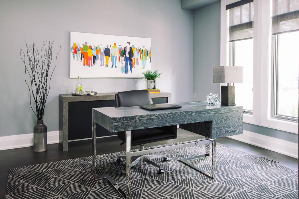 Modern Home Office Frahm Interiors Modern study/office Grey