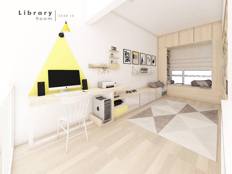 Studi Room & Library: Ruang Kerja oleh CASA.ID ARCHITECTS,