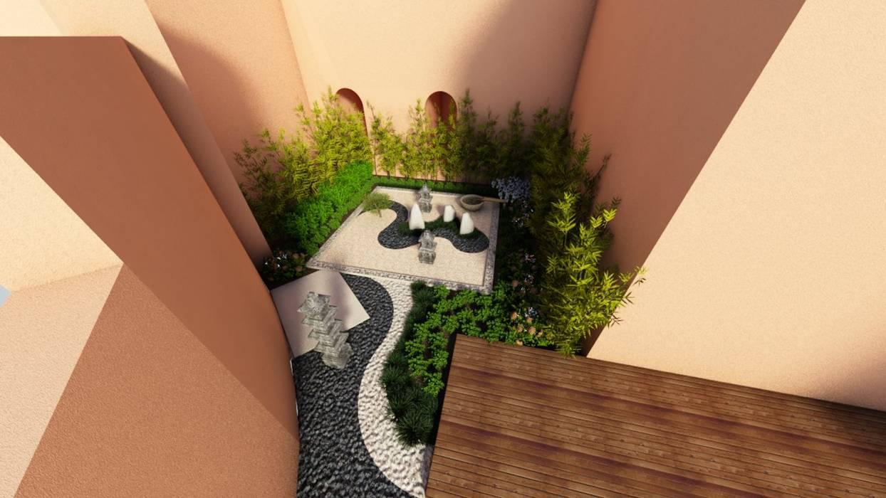 jardín japonés: Jardines zen de estilo  por David Araiza Pérez DAP Diseño,  Arquitectura  y Paisaje,