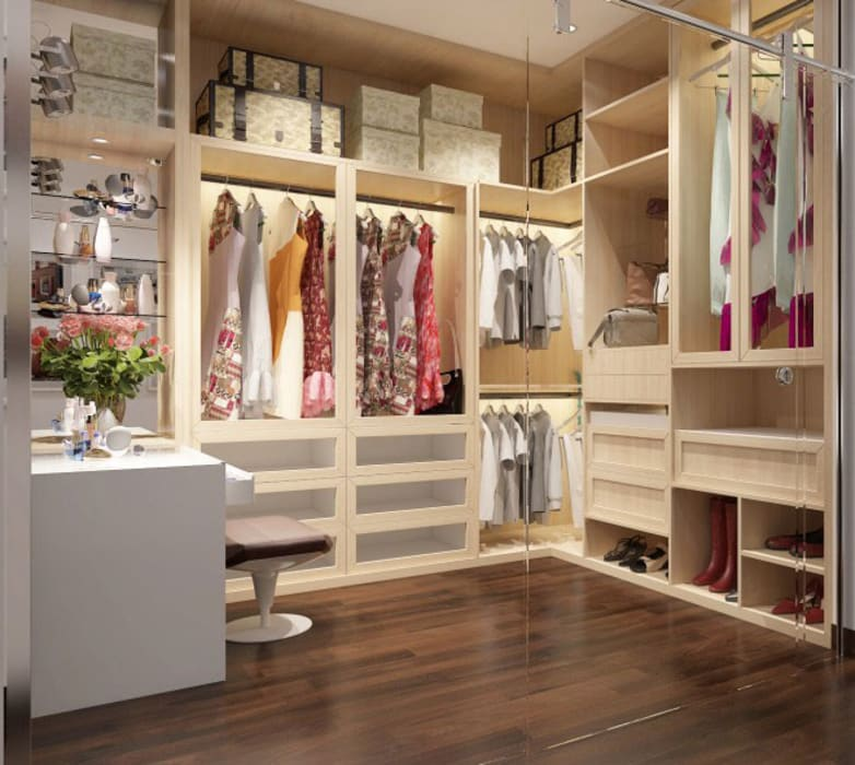 Phối cảnh nội thất tầng 3 Phòng thay đồ phong cách hiện đại bởi Công ty TNHH Xây Dựng TM – DV Song Phát Hiện đại