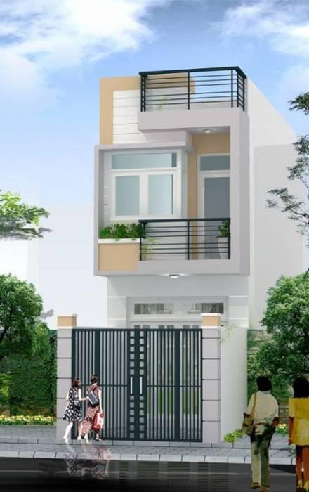 Thiết kế mặt tiền nhà ống 2 tầng đơn giản bởi Công ty TNHH Xây Dựng TM – DV Song Phát Hiện đại