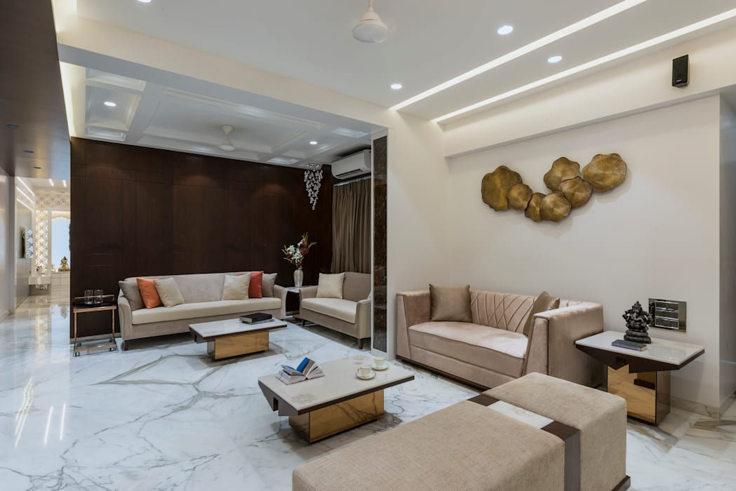 Living room area:  Living room by Tanuja and Associates ,