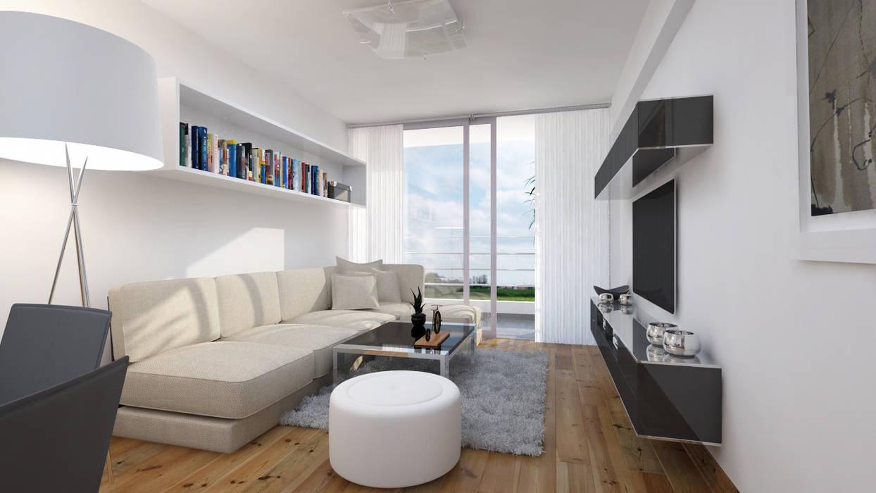 Minimalistische Wohnzimmer von Estudio Allan Cornejo Arquitecto Minimalistisch Holzwerkstoff Transparent
