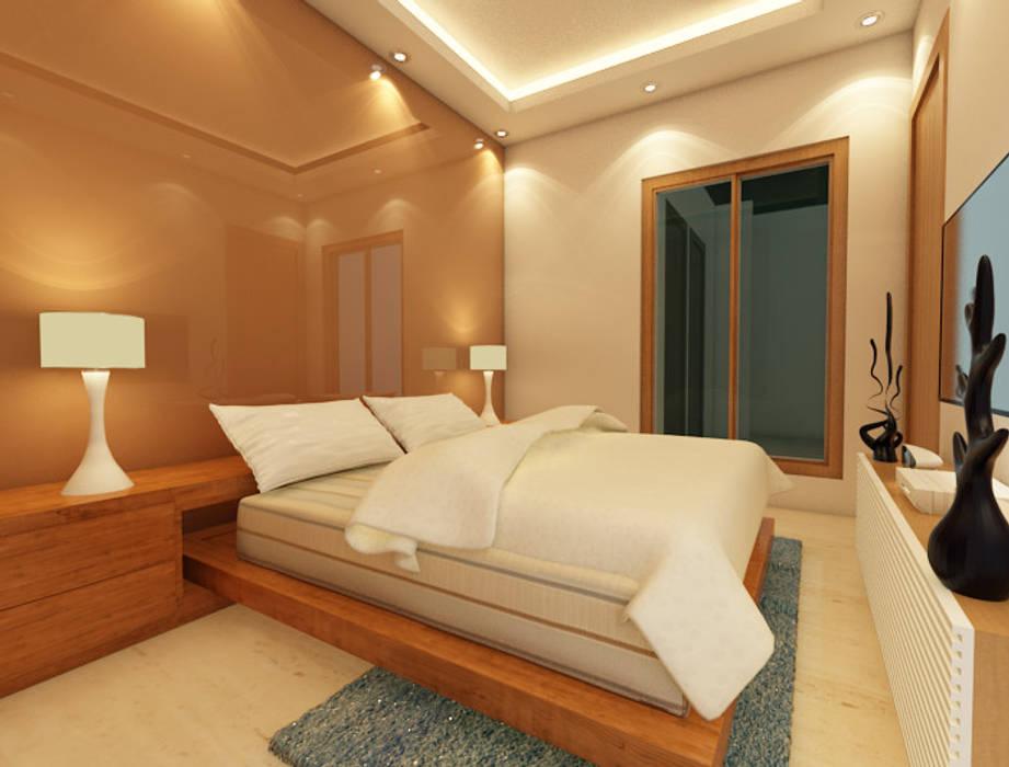 Bihani Residence and Interiors Modern style bedroom by Studio Rhomboid Modern Glass